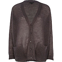 Dark grey mohair oversized cardigan