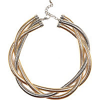 Mixed metal twisted slinky necklace