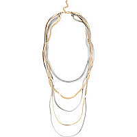 Mixed metal long slinky necklace