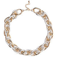 Gold and silver tone mixed metal necklace