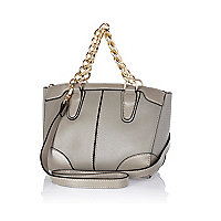 Light grey chain handle mini bowler bag