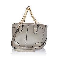 Light grey chain handle mini bowler bag