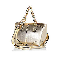 Gold metallic chain handle mini bowler bag