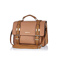 Beige large satchel bag