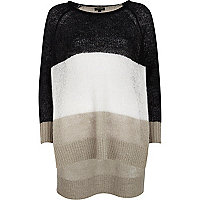 Grey colour block stepped hem jumper