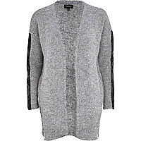 Grey fluffy leather-look sleeve cardigan