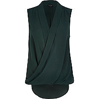 Dark green sleeveless wrap blouse