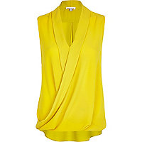 Yellow sleeveless wrap blouse