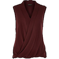 Dark red sleeveless wrap blouse