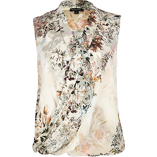 Beige floral sleeveless wrap blouse