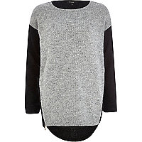 Grey colour block longline jumper
