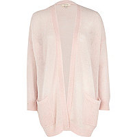 Light pink lightweight open front cardigan