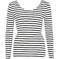 White stripe wrap back fitted top