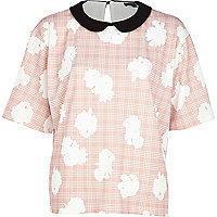 Pink floral check print contrast collar top