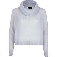 Grey mohair turtle neck crop jumper