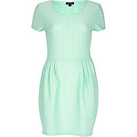 Light green textured tulip dress