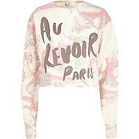 Pink marble au revoir Paris print sweatshirt