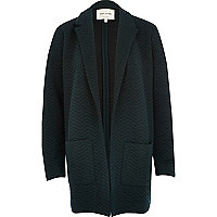 Dark green zig zag textured jersey jacket