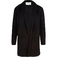 Black zig zag textured jersey jacket