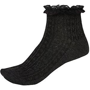 Dark grey frill trim ankle socks