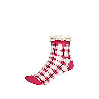 Pink check frill trim ankle socks