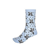 Blue Panda print ankle socks