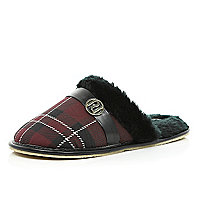 Red tartan mule slippers
