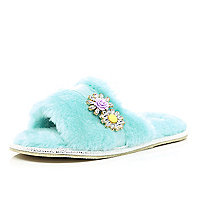Turquoise fluffy open toe mule slippers