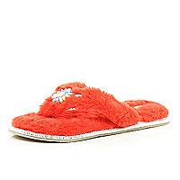 Orange fluffy toe post slippers