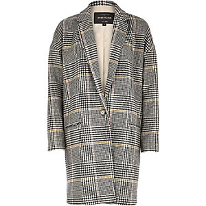 Black check oversized coat