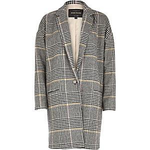 Black check oversized coat