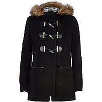 Black faux fur trim duffle coat
