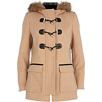Camel faux fur hood duffle coat