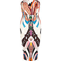 White tribal print scuba bandeau dress