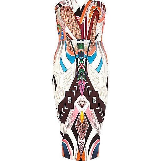 White tribal print scuba bandeau dress
