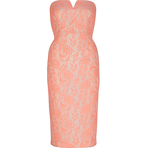 Bright coral lace bandeau dress