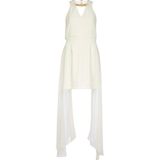 Cream open front maxi dress