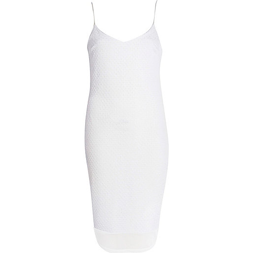White chiffon hem slip dress