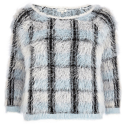Grey check eyelash knit jumper