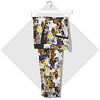 Cream floral print slim cigarette pants