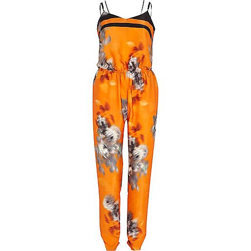 Orange blurred print cami jumpsuit