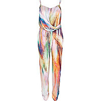 Multicoloured abstract print jumpsuit