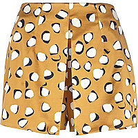 Beige abstract animal print split front skort