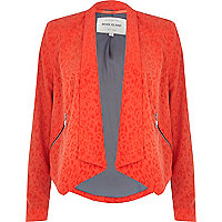 Orange animal print waterfall blazer