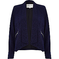 Navy animal print waterfall blazer