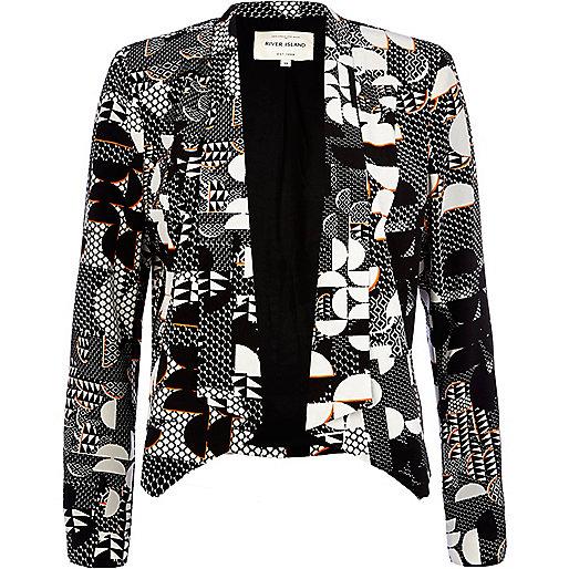 Black geometric print open front blazer