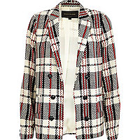 Cream check relaxed blazer