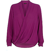 Purple wrap blouse