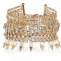 Gold tone diamante chain bracelet