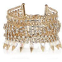Gold tone diamante chain bracelet